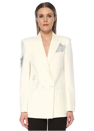 Zadig&Voltaire Kadın Ekru Taş Baskılı Kruvaze Blazer Ceket Beyaz 34 FR female