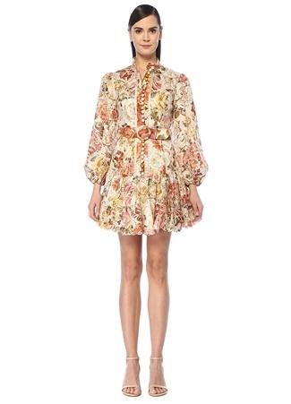Zimmermann Kadın Bonita Çiçekli Nakış Detaylı Mini Keten Elbise Bej US