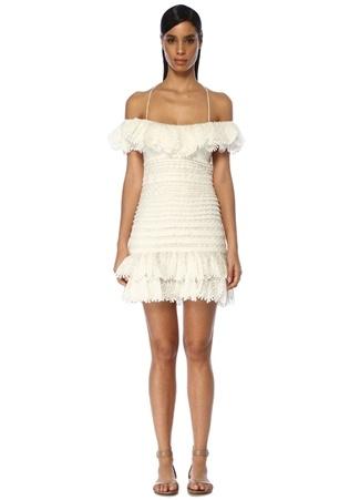 Zimmermann Kadın Super Eight Beyaz Düşük Omuzlu Mini Keten Elbise US