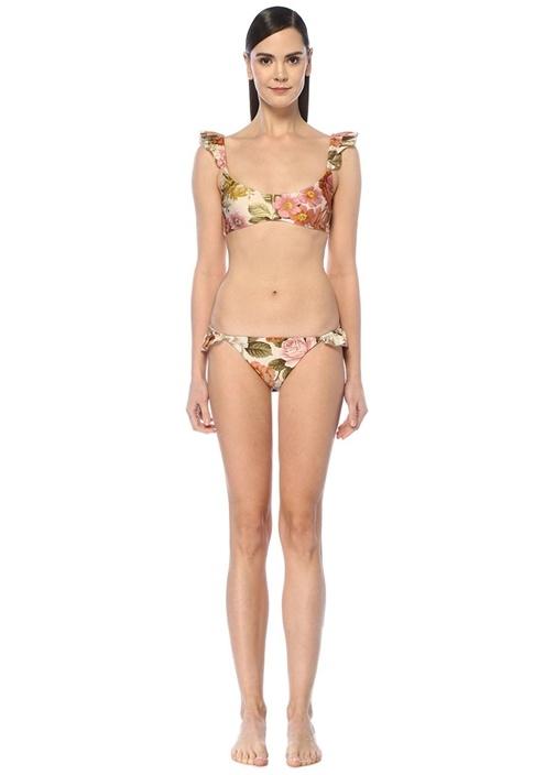 Bonita Krem Çiçek Baskılı Bikini Takımı