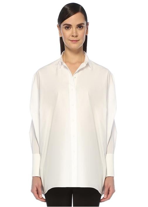 Oversize Beyaz Poplin Gömlek