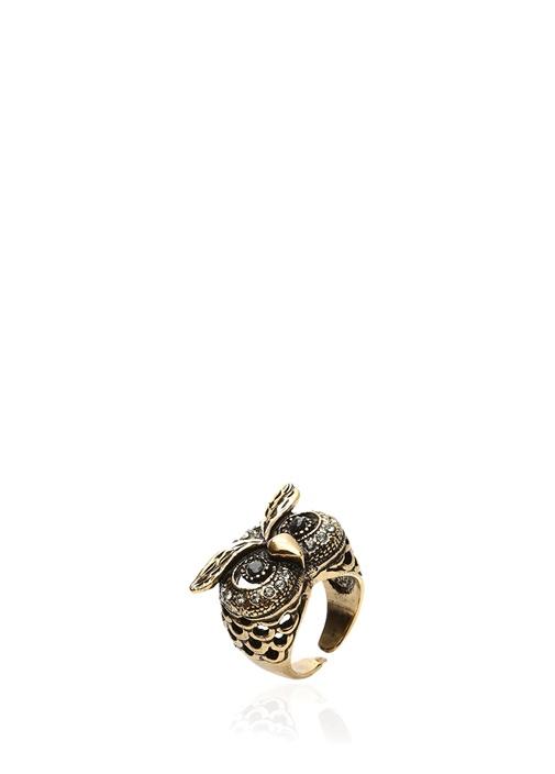 Gold Baykuş Formlu Kadın Taşlı Yüzük