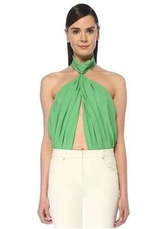 Sara Battaglia Kadın Yeşil Drapeli Kesim Detaylı Body 42 IT