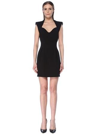 Versace Kadın Siyah Yakası Kesim Detaylı Zincirli Mini Elbise 38 IT female