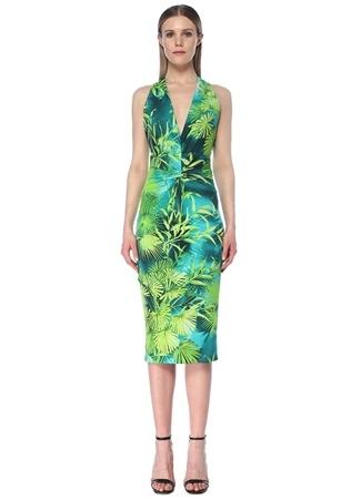 Versace Kadın Yeşil Yaka Palmiye Desenli Büzgülü Midi Elbise 40 IT female
