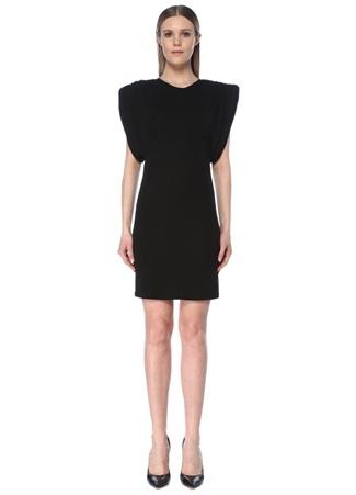 Versace Kadın Siyah Omzu Vatkalı Büzgü Detaylı Mini Elbise 38 IT