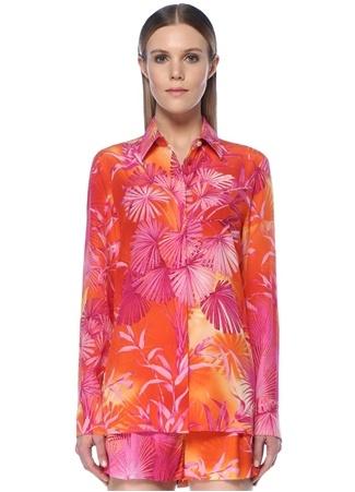 Versace Kadın Pembe Palmiye Desenli İpek Gömlek 40 IT female