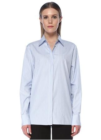 Versace Kadın Mavi İngiliz Yaka Çizgili Gömlek 38 IT female