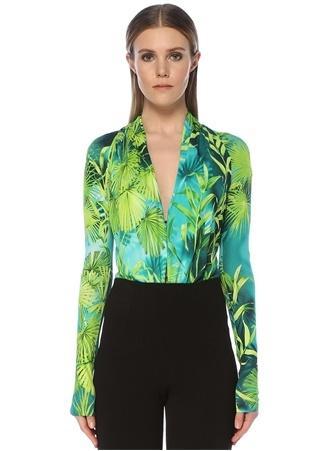 Versace Kadın Yeşil Yaka Palmiye Desenli Uzun Kol Body 42 IT female