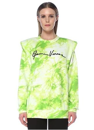 Versace Kadın Oversize Yeşil Batik Desenli Logolu Sweatshirt 40 IT female