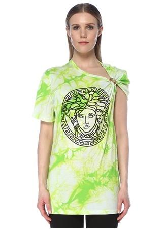 Versace Kadın Medusa Yeşil Desenli Aksesuar Detaylı T-shirt 44 IT female