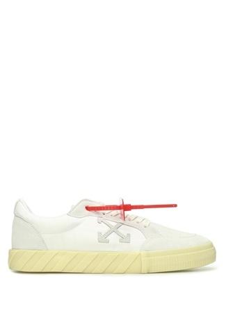 Off-White Erkek Beyaz Garnili Logolu Deri Sneaker 43 EU male