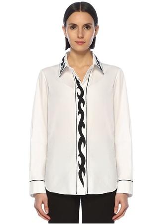 Golden Goose Kadın Siyah Beyaz Nakış Detaylı Biyeli Gömlek M EU