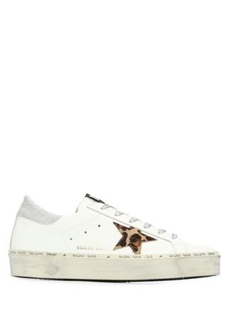 Hi Star Beyaz Leopar Logolu Kadın Deri Sneaker