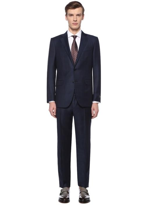 Drop 7 Lacivert Kareli Yün Takım Elbise