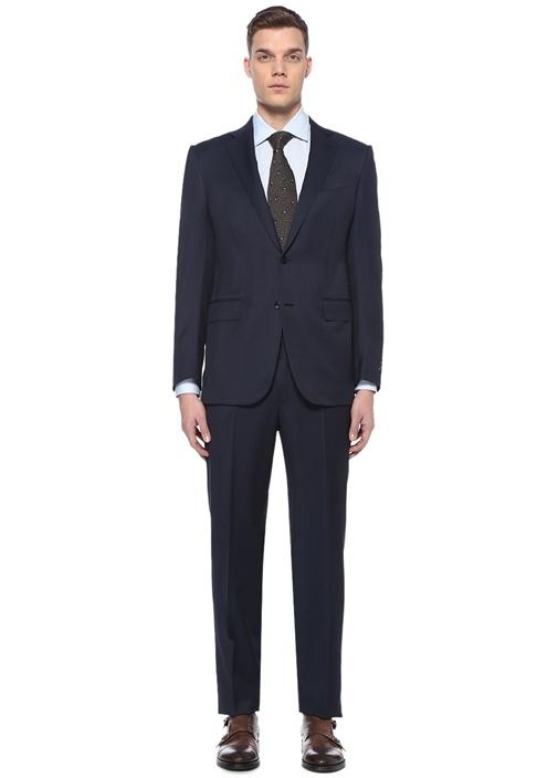 Drop 7 Lacivert Mikro Desenli Yün Takım Elbise