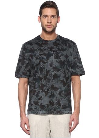 Zegna Erkek Yeşil Siyah Mikro Desenli Basic T-shirt 50 IT male