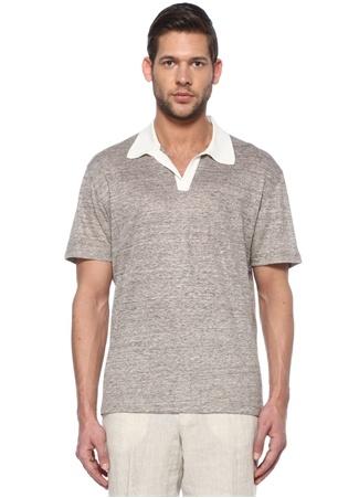 Zegna Erkek Bej Yaka Detaylı Keten T-shirt 23456789 52 IT Tanımsız male