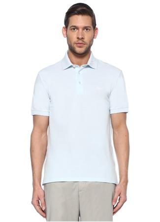 Zegna Erkek Mavi Polo Yaka Doku Detaylı T-shirt 56 IT male