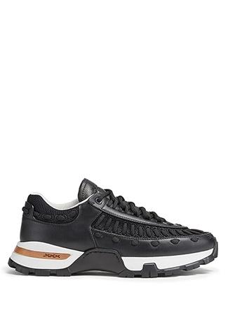 Zegna Erkek Claudio Siyah Deri Sneaker 8 UK male