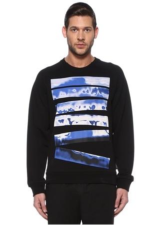 Z Zegna Erkek Siyah Mavi Baskılı Sweatshirt XL EU male