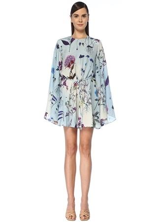 Stella McCartney Kadın Delia Mavi Çiçekli Kuşaklı Mini İpek Elbise 34 IT