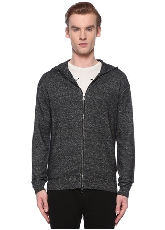 John Varvatos Erkek Gri Kapüşonlu Kırçıllı Kaşmir Sweatshirt L EU male