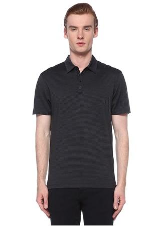 John Varvatos Erkek Siyah Polo Yaka Çizgi Desenli İpek T-shirt L EU male