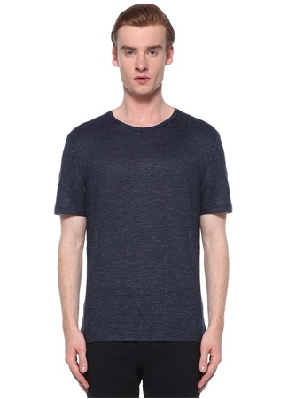 John Varvatos Erkek Lacivert Çizgi Dokulu Keten T-shirt S EU male