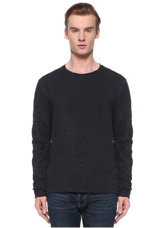 John Varvatos Erkek Lacivert Uzun Kollu Basic T-shirt EU male