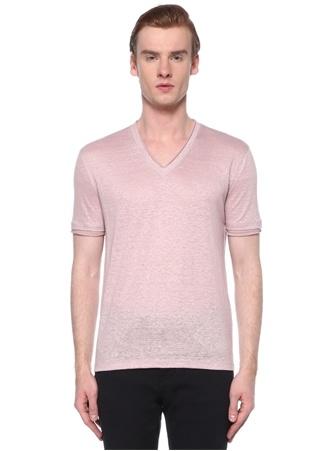 John Varvatos Erkek Pembe Yaka Keten Basic T-shirt S EU male