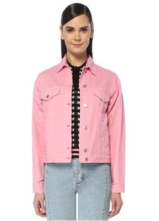 Pembe İngiliz Yaka Logo Baskılı Jean Ceket