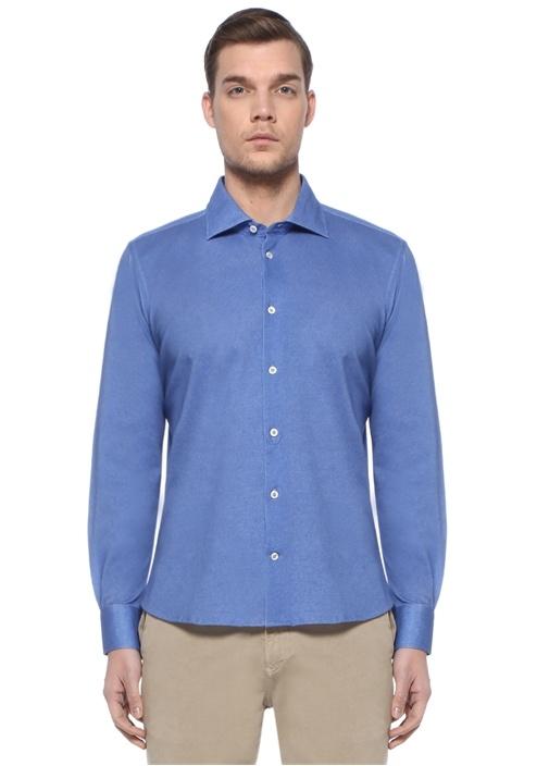 Lacivert Modern Yaka Gömlek