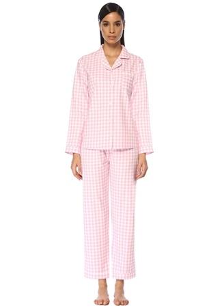 Luna Mia Kadın Pink Wish Mom Kareli Gözlüklü Pijama Takımı Pembe EU female