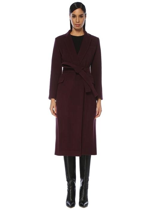 Mor Beli Kuşaklı Klasik Yün Palto