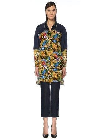 Versace Jeans Couture Kadın Yaka Detaylı Denim Garnili Desenli Tunik 42 IT Çok Renkli female