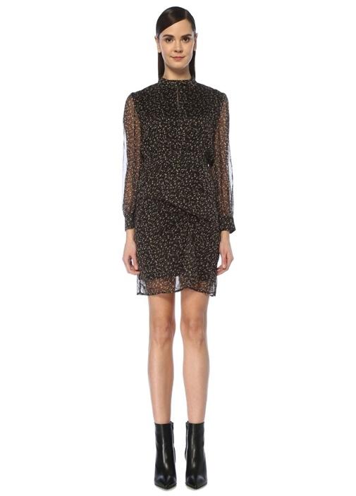 Nomand Siyah Çiçekli Uzun Kol Mini Elbise