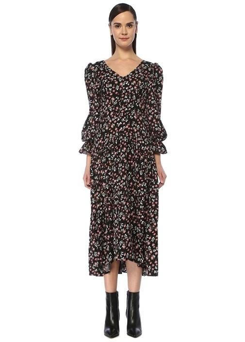 Floral Supply Siyah V Yaka Çiçekli Midi Elbise