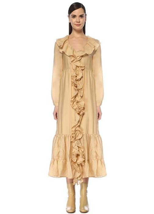 Honey Pot Bej V Yaka Volanlı Midi Elbise