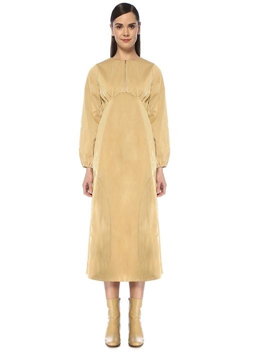 Cache Bej Fermuar Detaylı Midi Suni Deri Elbise