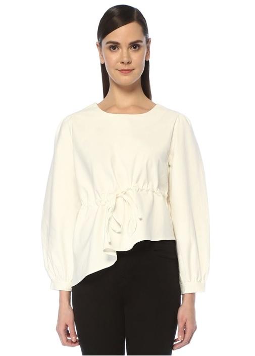Slope Beyaz Asimetrik Volanlı Büzgülü Bluz