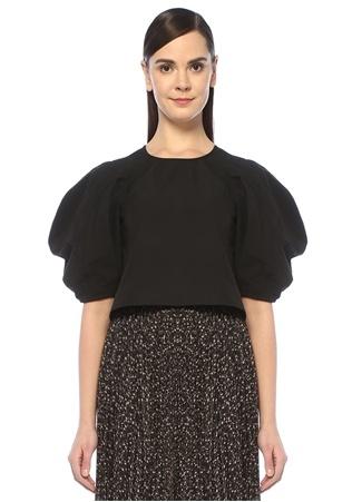 Borrower Siyah Balon Kol Crop Bluz