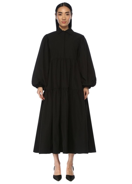 Blackout Oversize Siyah Midi Gömlek Elbise