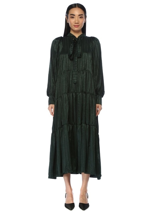 Flicker Yeşil Yakası Bağcıklı Midi Elbise