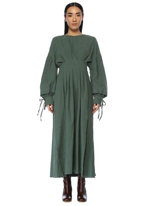 Dawn Till Dusk Yeşil Pilili Midi Elbise