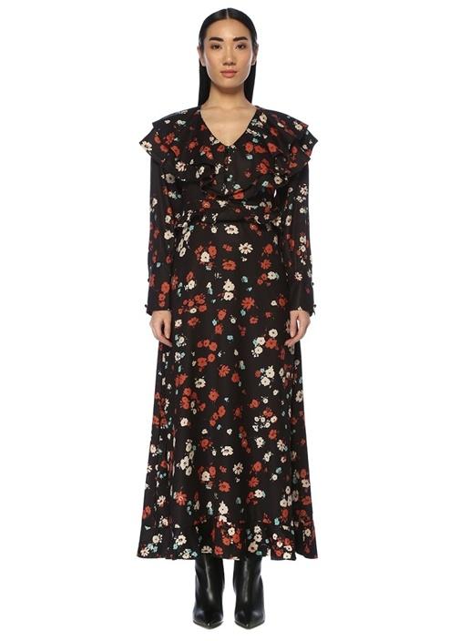 Floral Supply Siyah V Yaka Volanlı Maksi Elbise