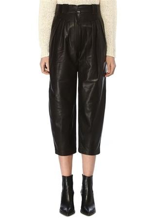 IRO Kadın Finio Siyah Yüksek Bel Pilili Deri Pantolon 34 FR