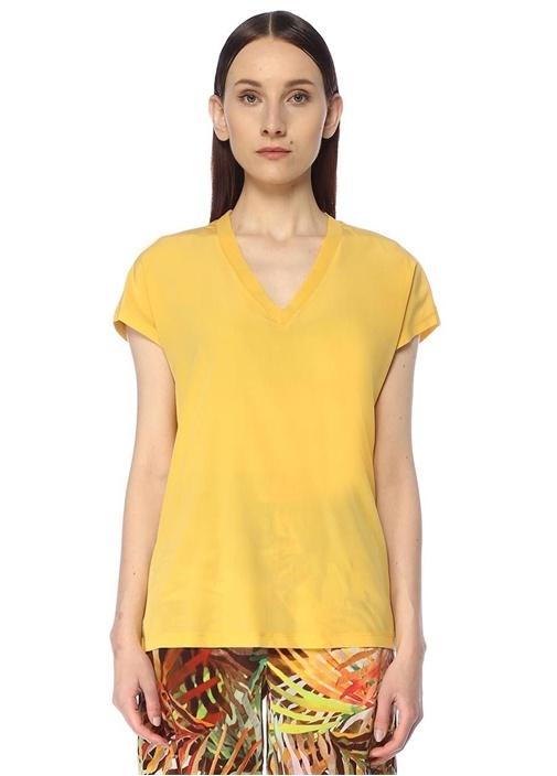 Sarı V Yaka İpek Garnili Basic T-shirt