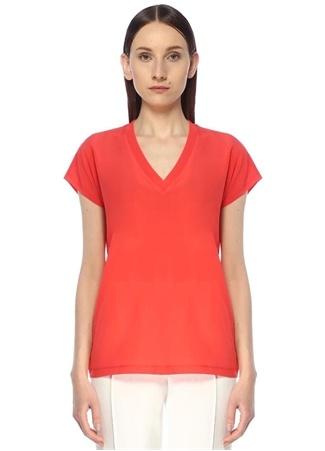 Beymen Club Kadın Mercan V Yaka İpek Garnili Basic T-shirt Kırmızı XL female
