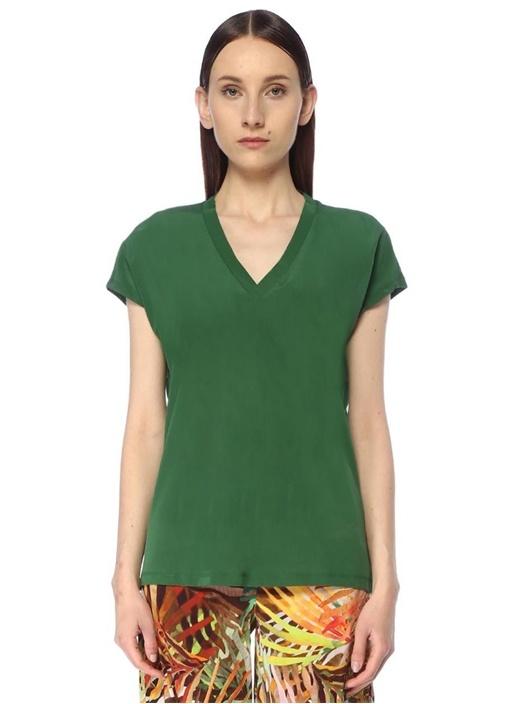 Yeşil V Yaka İpek Garnili Basic T-shirt